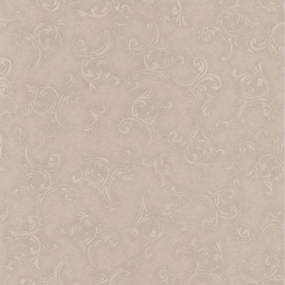 Mirage Highgate Taupe Embroidered Scroll Taupe Brewster Wallpaper