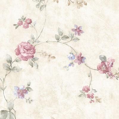 Mirage Mary Pink Floral Vine Pink Brewster Wallpaper