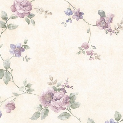 Mirage Mary Purple Floral Vine Purple Brewster Wallpaper