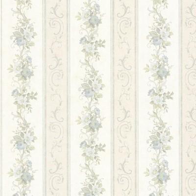 Mirage Lorelai Light Blue Floral Stripe Light Blue Brewster Wallpaper