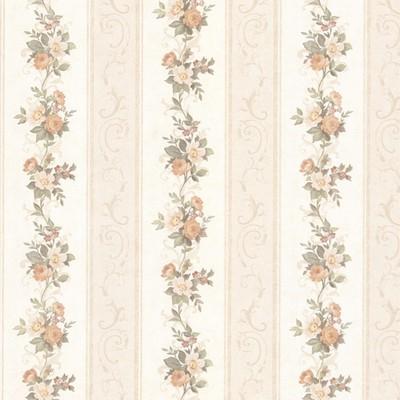 Mirage Lorelai Peach Floral Stripe Peach Brewster Wallpaper