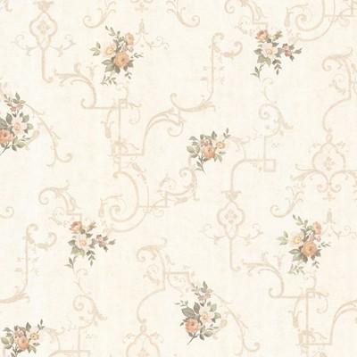 Mirage Lori Peach Floral Trellis Peach Brewster Wallpaper