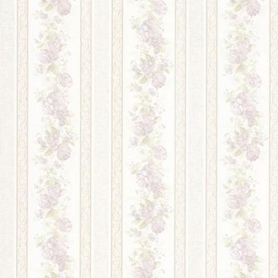 Mirage Tasha Lavender Satin Floral Scroll Stripe Lavender Brewster Wallpaper