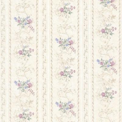 Mirage Maury Purple Floral Bouquet Stripe Purple Brewster Wallpaper