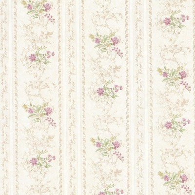 Mirage Maury Mauve Floral Bouquet Stripe Mauve Brewster Wallpaper
