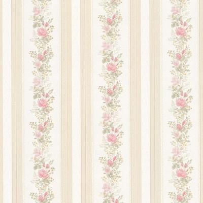 Mirage Alexis Pink Satin Floral Stripe Pink Brewster Wallpaper
