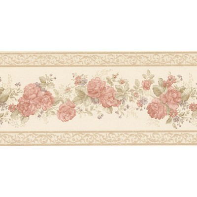 Mirage Tiff Peach Satin Floral Border Peach Wall Borders