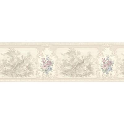 Mirage Kris Lavender Aviary Cameo Fleur Border Lavender Traditional Flower Wallpaper