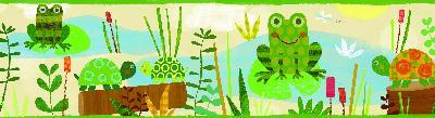 Brewster Wallcovering Kermis Cream Frog Marsh Toss Border Green Boys Wallpaper
