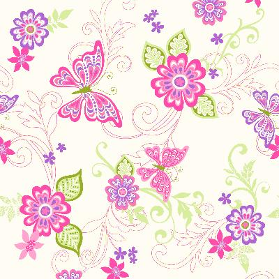 Brewster Wallcovering Paisley Pink Butterfly Flower Scroll Wallpaper Pink Animals