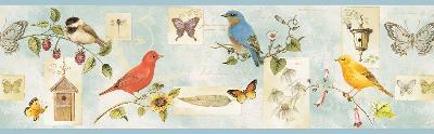 Brewster Wallcovering Blue Songbird Collage Border Blue Brewster Wallpaper