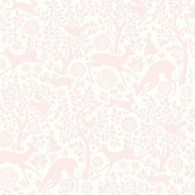Brewster Wallcovering Anahi Light Pink Forest Fauna  Light Pink Animals