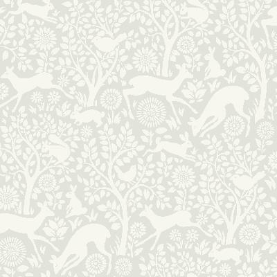 Brewster Wallcovering Anahi Light Grey Forest Fauna  Light Grey Animals