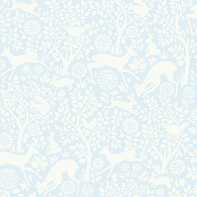Brewster Wallcovering Anahi Light Blue Forest Fauna  Light Blue Animals