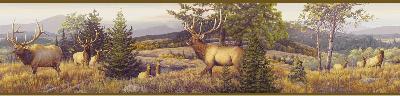 Brewster Wallcovering Breeze Purple Elk Mountain Portrait Border Yellow Brewster Wallpaper
