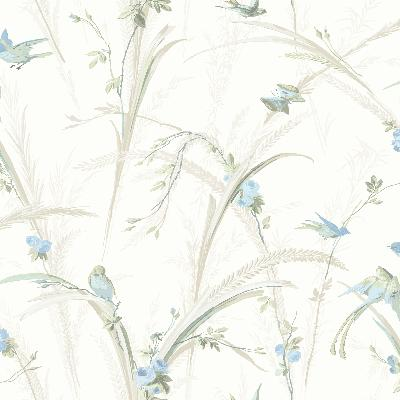 Brewster Wallcovering Cheshire Blue Meadowlark Trail Blue Animals
