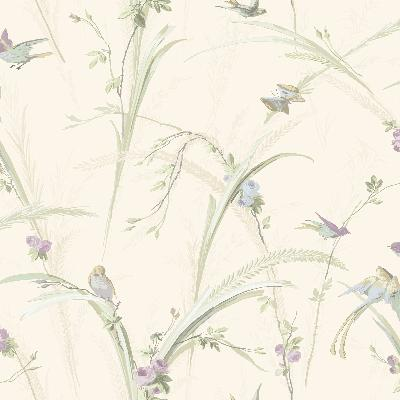 Brewster Wallcovering Cheshire Lavender Meadowlark Trail Lavender Animals