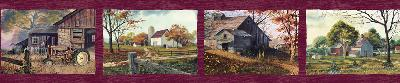 Brewster Wallcovering Norm Red Quiet Country Scenes Border Red Brewster Wallpaper