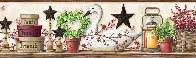 Brewster Wallcovering Rue White Swan Star Collage Border White Brewster Wallpaper