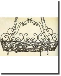 Burnished Gold Iron Scroll Pot Rack by