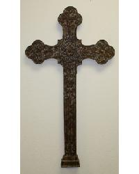 Brown Taupe Iron  Tole Large Wall Cross by