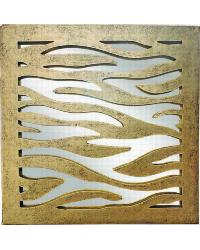 Antique Gold Iron Zebra Design Wall Accent Mirror by