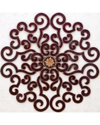 Faux Red Oversized Round Scroll Wall Grille by