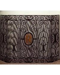 Three Panel Monogram Fire Screen by
