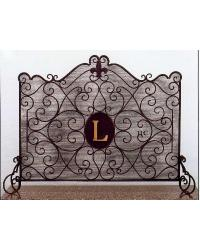 Fleur de Lis Monogram Fire Screen by