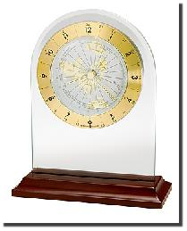 World Time Arch Table Clock by