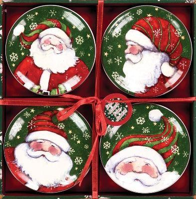 Manual Woodworkers and Weavers  Inc Snow Much Fun Mini Plate Set  Christmas Table Decor