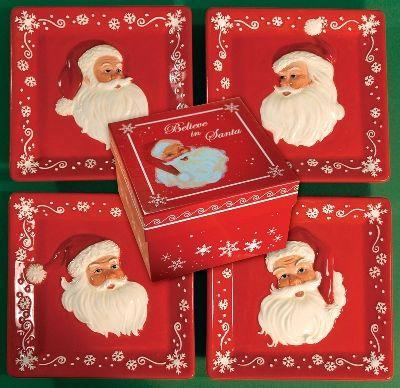 Manual Woodworkers and Weavers  Inc Believe Mini Plate Set  Christmas Table Decor