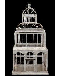 3 Story Wooden Bird Cage Antique Cream Finish by