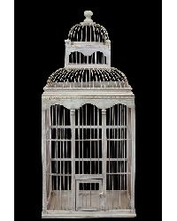 2 Story Wooden Bird Cage Antique Cream Finish by