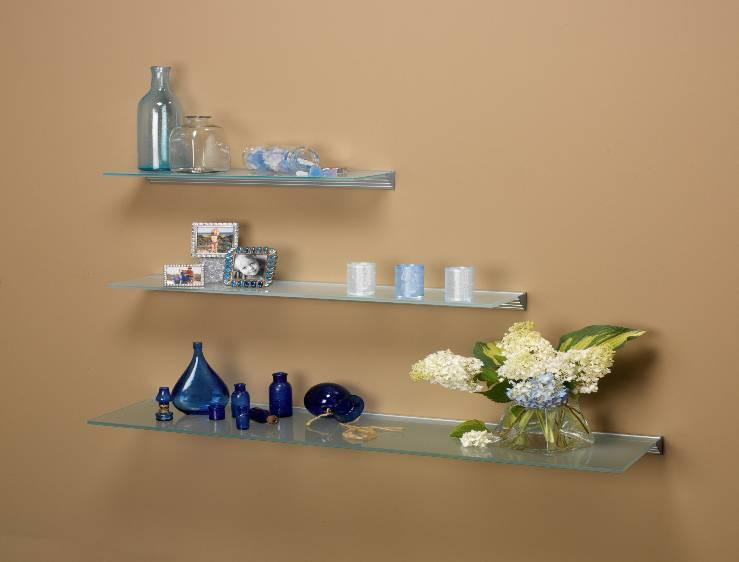 8 x 48 glace glass wall shelf interiordecorating for Glace decoration