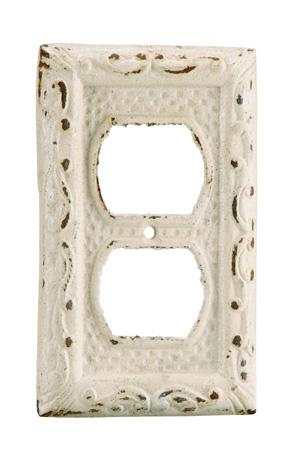 Antique white finished iron single outlet cover for International decor outlet corp