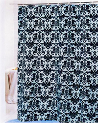 Damask Shower Curtain Chocolate Blue by