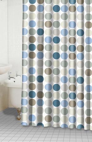 Dots blue sage shower curtain interiordecorating - Tende doccia tessuto ...