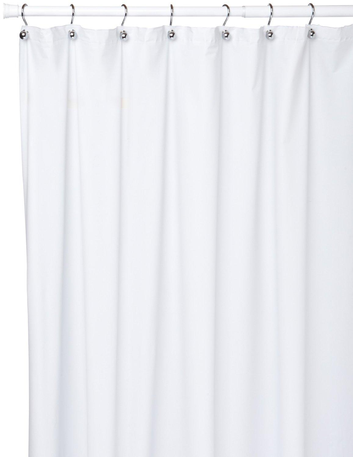 Extra Long 10 Gauge Vinyl Shower Curtain Liner White ...