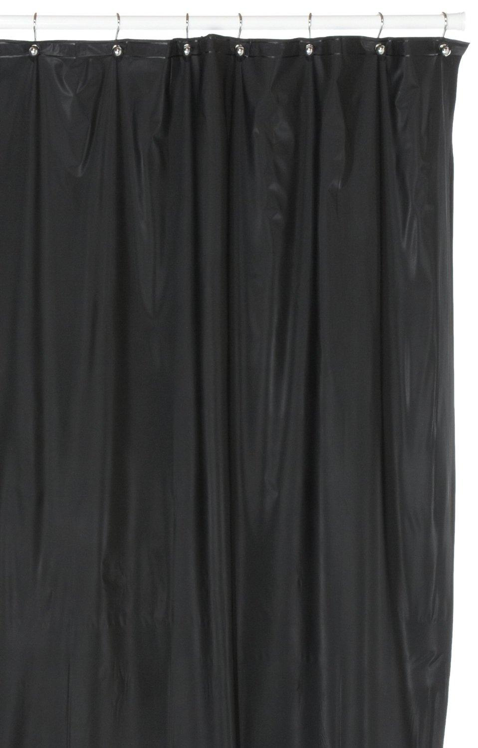 Attirant Hotel Quality 8 Gauge Vinyl Shower Curtain Liner Black
