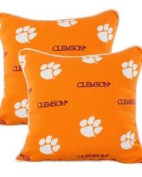 Clemson Tigers Outdoor Decorative Pillow Pair  2 16 in  x 16 in  Pillows by