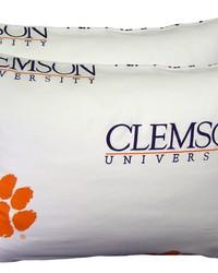 Clemson Tigers Pillowcase Pair  White by