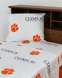 Clemson Tigers Sheet Set - White by