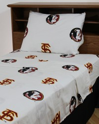Florida State Seminoles Sheet Set - White by