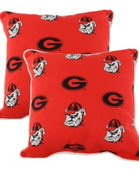 Georgia Bulldogs Outdoor Decorative Pillow Pair  2 16 in  x 16 in  Pillows by