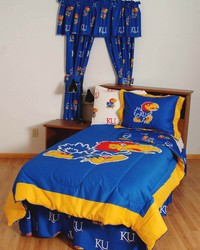 Kansas Jayhawks Bed in a Bag Twin  With White Team Sheets by