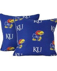Kansas Jayhawks 16 in  x 16 in  Decorative Pillow  Includes 2 Decorative Pillows by