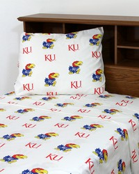 Kansas Jayhawks Sheet Set - White by