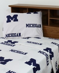 Michigan Wolverines Sheet Set - White by