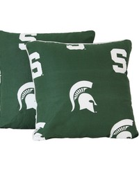 Michigan State Spartans 16 in  x 16 in  Decorative Pillow  Includes 2 Decorative Pillows by